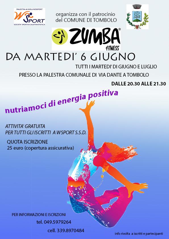 locandina zumba gratuita Tombolo 2017